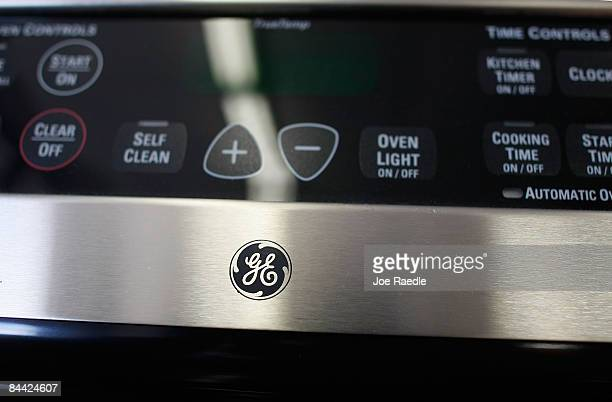 The GE logo is displayed on a General Electric appliance at Fortney's Appliance store on January 23 2009 in Fort Lauderdale Florida General Electric...