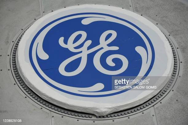 The GE logo is pictured at the General Electric plant of Montoir-de-Bretagne, Britany, on September 15, 2020.