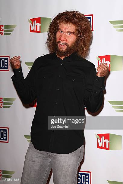 The Geico Caveman arrives to the The USO Presents 'VH1 Divas Salute The Troops' at Marine Corps Air Station Miramar on December 3 2010 in San Diego...