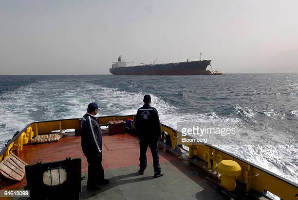 The Gemini Star oil tanker owned by Vela International Marine a subsidiary of Saudi Aramco offloads into a single buoy mooring at the start of the...