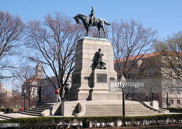 The Gen William Tecumseh Sherman statue stands near the White House in Sherman Square Washington DC The bronze equestrian statue was created by...