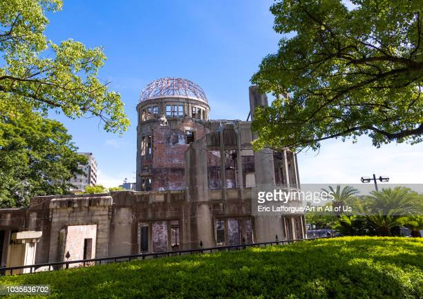 The Genbaku dome also known as the atomic bomb dome in Hiroshima peace memorial park, Chugoku region, Hiroshima, Japan on August 13, 2018 in...