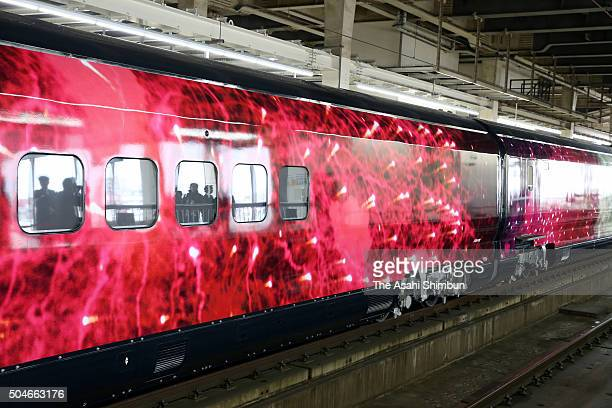 The 'Genbi' Shinkansen during the press preview at JR Omiya Station on January 12 2016 in Saitama Japan JR East is scheduled to launch the bullet...