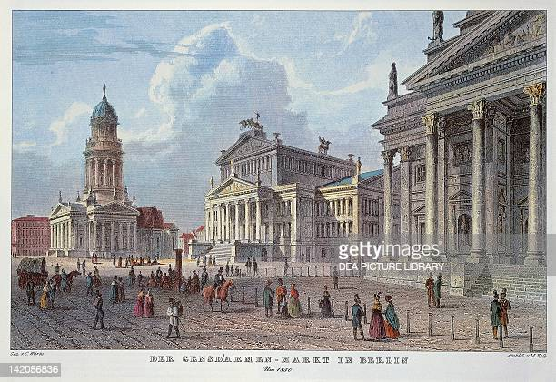 The Gendarmen Market with the twin churches in the Deutscher Dom and in the Franzosischer Dom and the Kozerthause in the middle Berlin Germany 19th...