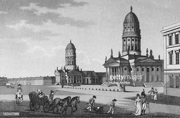 The Gendarmenmarkt in Berlin Germany circa 1800 In the background are the domes of the German and French Cathedrals
