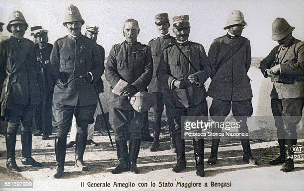 The general Ameglio with his staff in Benghazi Libya September 29 1911 Postcard photography turning sepia Italy 1911