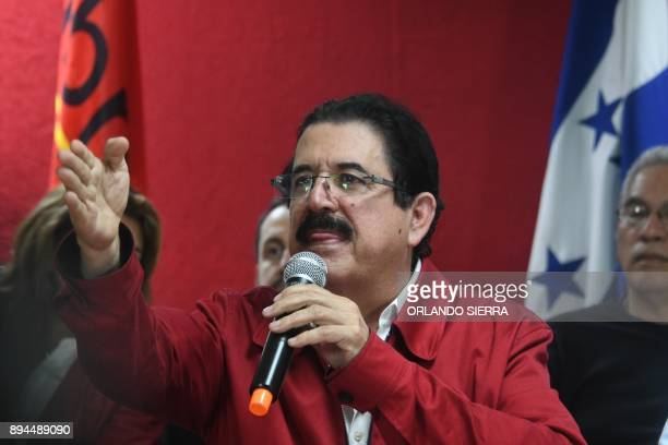 The general coordinator of the Opposition Alliance against dictatorship party Manuel Zelaya answer questions in a press conference in Tegucigalpa on...