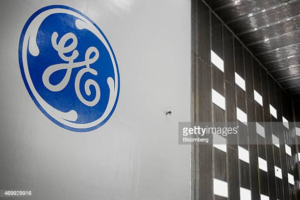 The General Electric Co. Logo is displayed inside a test tunnel at the GE Aviation Test Operations facility in Peebles, Ohio, U.S., on Tuesday, April...