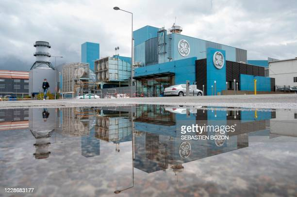 The General Electric logo and buildings are pictured, in Belfort, eastern France, on September 24, 2020.