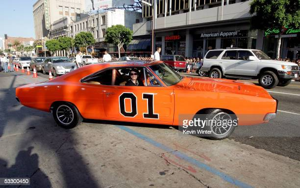 """The """"General Lee"""", a 1969 Dodge Charger muscle car arrives at the Premiere Of """"The Dukes of Hazzard"""" at the Grauman's Chinese Theatre on July 28,..."""
