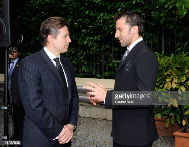The General Manager of Liverpool Christian Purslow and Alessandro Del Piero during the Heysel commemorative ceremony on May 29 2010 in Turin Italy...