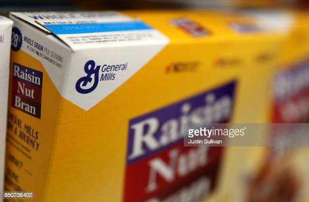 The General Mills logo is displayed on a box of Raisin Nut Bran cereal at Scotty's Market on September 20 2017 in San Rafael California General Mills...