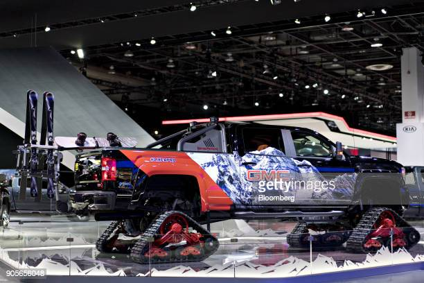The General Motors Co 2018 GMC Sierra 2500HD All Terrain X concept vehicle is displayed during the 2018 North American International Auto Show in...