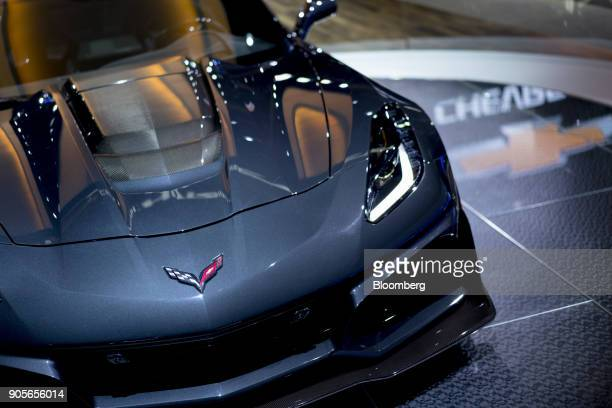 The General Motors Co 2019 Chevrolet Corvette ZR1 is displayed during the 2018 North American International Auto Show in Detroit Michigan US on...