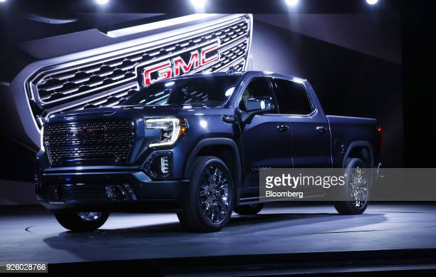 The General Motors Co 2019 GMC Sierra Denali truck is unveiled during an event at Russell Industrial Complex in Detroit Michigan US on Thursday March...