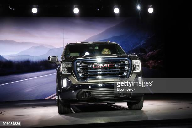 The General Motors Co 2019 GMC Sierra SLT truck is unveiled during an event at Russell Industrial Complex in Detroit Michigan US on Thursday March 1...
