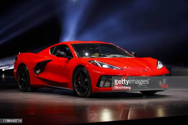 The General Motors Co 2020 Chevrolet Corvette Stingray sports car is unveiled during an event in Tustin California US on Thursday July 18 2019 With...