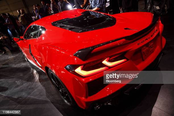The General Motors Co 2020 Chevrolet Corvette Stingray sports car stands on display during an unveiling event in Tustin California US on Thursday...