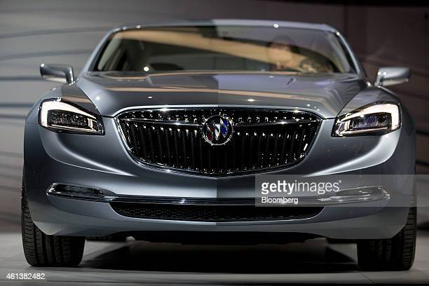 The General Motors Co Buick Avenir concept vehicle stands on display during the luxury sedan's unveiling at an event ahead of the 2015 North American...