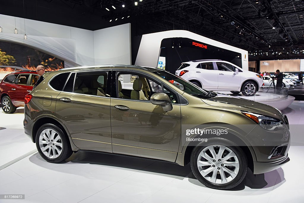 The General Motors Co. Buick Envision sports utility vehicle (SUV) is displayed during the 2016 New York International Auto Show in New York, U.S., on Thursday, March 24, 2016. Nearly 1,000 cars and trucks will be on display at North America's first and largest-attended auto show. Photographer: Ron Antonelli/Bloomberg via Getty Images