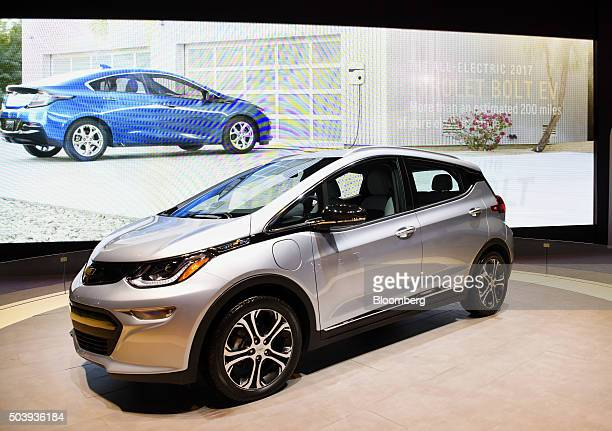 The General Motors Co Chevrolet Bolt electric vehicle is displayed during the 2016 Consumer Electronics Show in Las Vegas Nevada US on Thursday Jan 7...