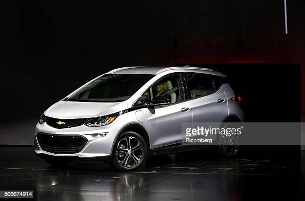 The General Motors Co Chevrolet Bolt electric vehicle is unveiled during the 2016 Consumer Electronics Show in Las Vegas Nevada US on Wednesday Jan 6...