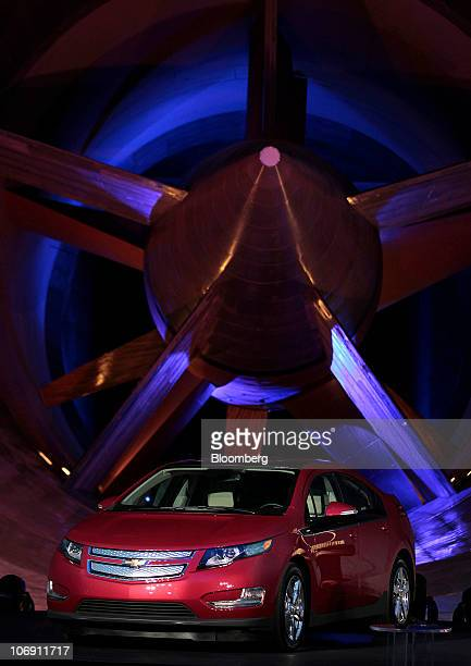 The General Motors Co Chevrolet Volt sits on display during the 2011 Motor Trend Car of the Year award ceremony held in the wind tunnel at GM's...
