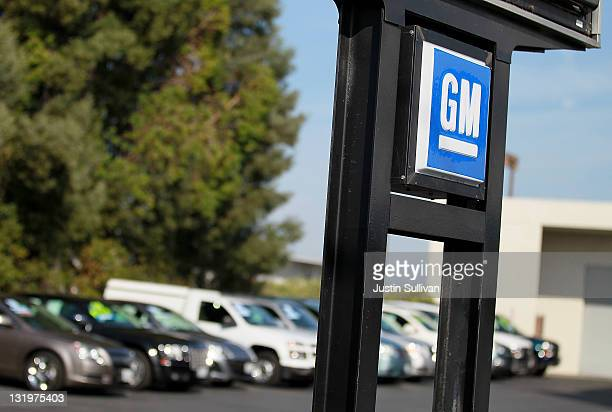 The General Motors logo is displayed at Boardwalk Chevrolet on November 9 2011 in Redwood City California General Motors reported a 12 percent...