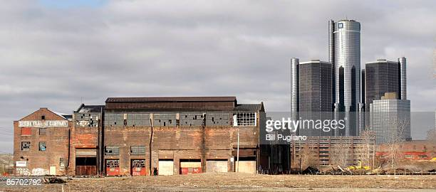 The General Motors world headquarters building is shown near an abandoned building March 30 2009 in Detroit Michigan Yesterday the Obama...