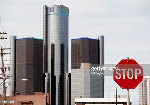 The General Motors world headquarters is seen April 24 2014 in Detroit Michigan Today GM reported its first quarter profits dropped nearly 86% from...