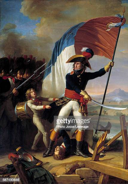 The General Pierre Augereau leading the charge at the Bridge of Arcole, 15 November 1796 , circa1798. Painting by Charles Thevenin , 18th century....