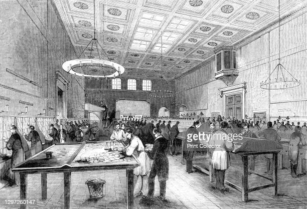 The General Post-Office; The Inland Letter Office, 1844. Workers in the main post office at St Martin's Le Grand in London. 'The inland sorters'...