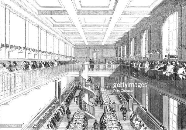 The General Post-Office; The Letter-Carriers' Office, 1844. Interior of the main post office at St Martin's Le Grand in London, view of 'a large...