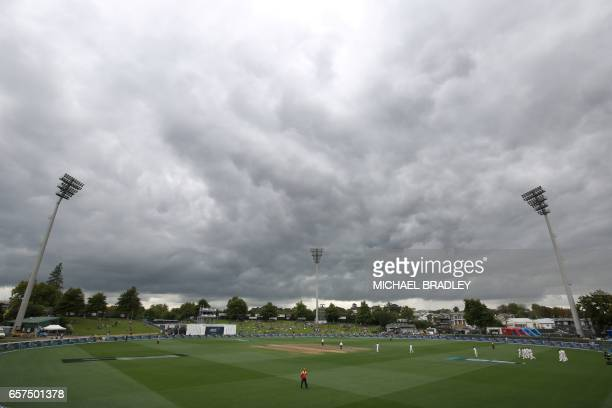 The general scene during day one of the third Test cricket match between New Zealand and South Africa at Seddon Park in Hamilton on March 25, 2017. /...