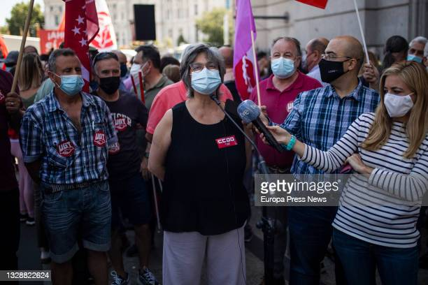 The general secretary of CCOO Madrid, Paloma Lopez, during a rally for the rise of the minimum interprofessional wage and the repeal of labor...