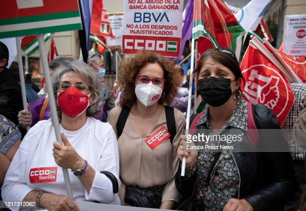 The general secretary of CCOO-A, Nuria Lopez with BBVA workers during the concentration in front of one of the offices against layoffs, on May 10 in...