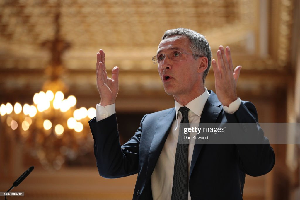 The General Secretary Of NATO Delivers Pre-summit Speech In London