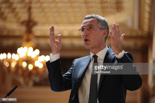 The General Secretary of NATO Jens Stoltenberg delivers his presummit speech at Lancaster House on June 21 2018 in London England Mr Stoltenberg...