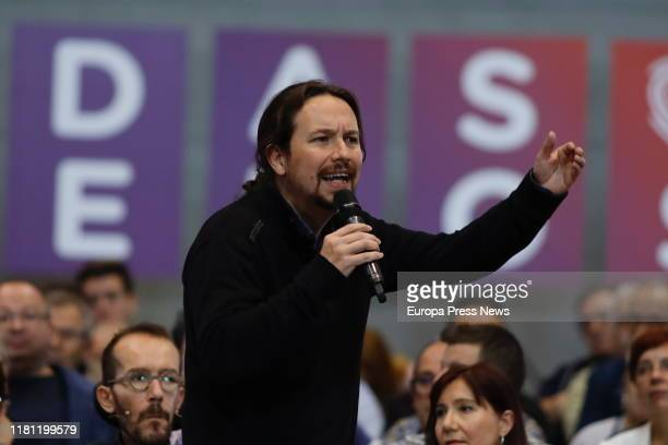 The general secretary of Podemos, Pablo Iglesias, is seen during an electoral campaign of Podemos at Zaragoza Auditorium on November 2019 on October...