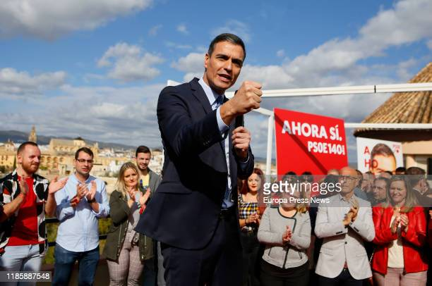 The general secretary of PSOE and acting president of the Government, Pedro Sanchez, is seen during his speech at an electoral campaign act of PSOE...