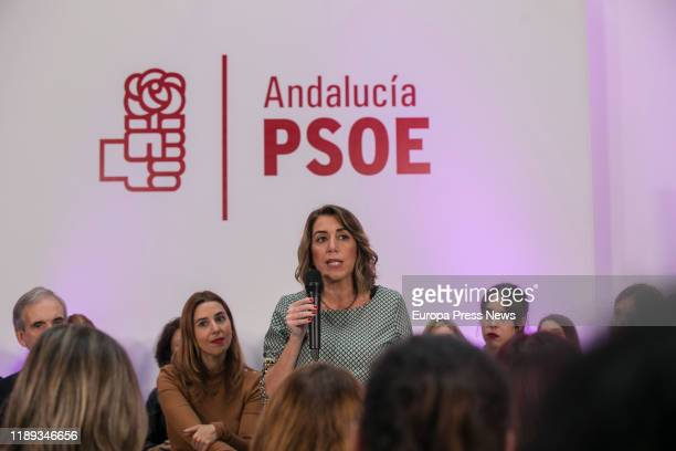 The general secretary of PSOE Andalucia, Susana Diaz, is seen during the International Day Against Gender Violence Event and the presentation of the...