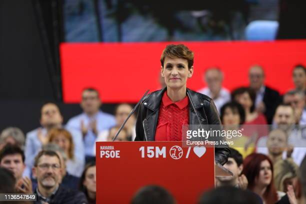 The general secretary of PSOE in Navarra Maria Chivite is seen during an act of PSOE in the pavilion 'Navarra Arena' in Pamplona on March 15 2019 in...