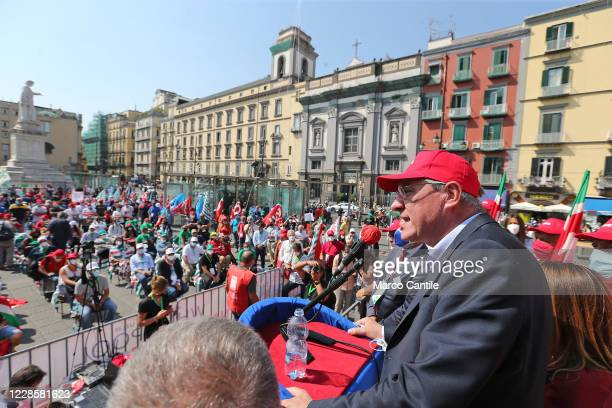 The general secretary of the CGIL labor union, Maurizio Landini, during a rally in Naples, for the day of the national mobilization of trade unions.