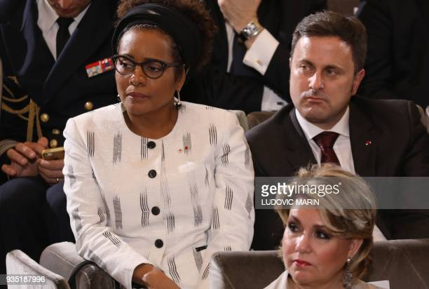 The general secretary of the Francophony organization Michaelle Jean and Luxembourg's Prime minister Xavier Bettel attend a ceremony at the French...