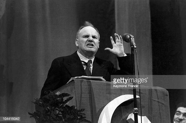 The general secretary of the French communist party Maurice THOREZ speaking at an electoral meeting in the House of the People in IssylesMoulineaux...