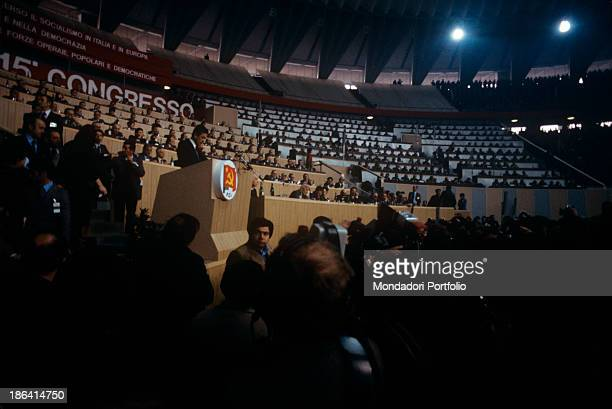 The general secretary of the Italian Communist Party Enrico Berlinguer giving a speech at the fifteenth Congress of the Italian Communist Party Rome...