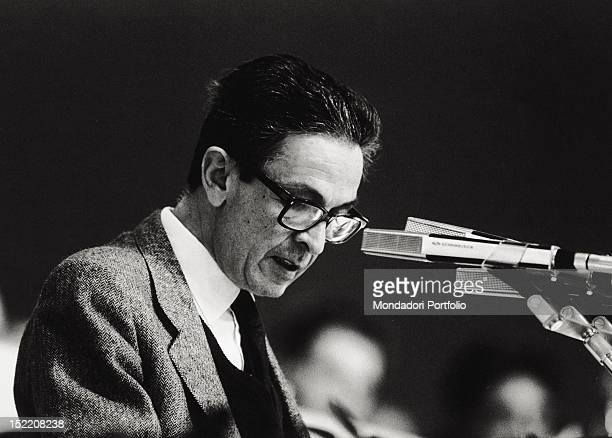 The General Secretary of the Italian Communist Party Enrico Berlinguer speaking during a political congress 1970s