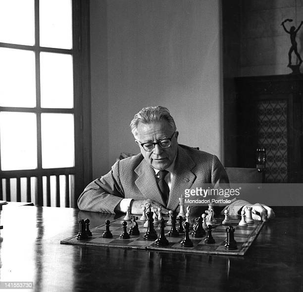 The general secretary of the Italian Communist Party Palmiro Togliatti playing chess in his house Rome 1963