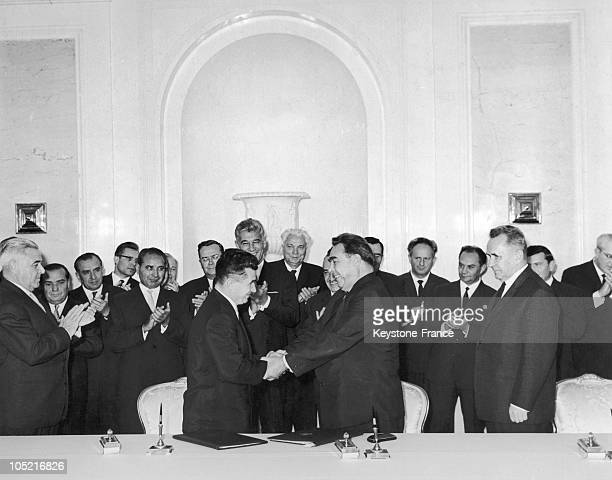 The General Secretary Of The Romanian Communist Party And Head Of State Nicolae Ceausescu Shaking Hands With Leonid Brezhnev The General Secretary Of...