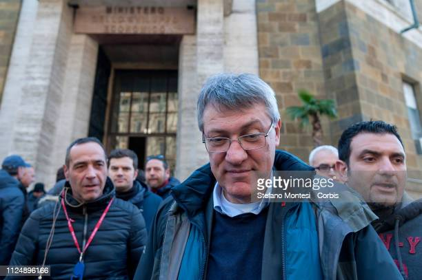 The general secretary of the trade union CGIL Maurizio Landini after the meeting at the Ministry of Economic Development with the government for the...